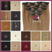 Wholesale 24 quot cm g Long Straight Synthetic Hair Clip in hair extensions pieces set high temperature fiber A5