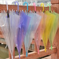 pvc steel handle - OEM Clear Transparent Umbrella PVC umbrellas See Through Fashion Star Long Handle Umbrellas Beach Wedding Graceful Colorful Decoration