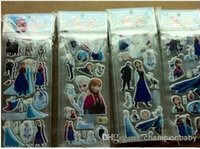 Wholesale New arrival Hot Anna Elsa Ice Snow Queen Students Kids Cartoon Stickers Sticker Foam Stick Presents Gifts Single Sticker A301