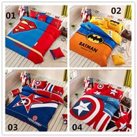 100% cotton bed sheet set - 2015 Cartoon superman Captain America batman cotton Europe United States bedding set Twin Set Duvet Cover Bed sheet Pillowcase D4405
