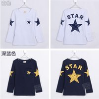 Wholesale New Details Hot Sale Boys Long Sleeve Tops Children Cotton T shirt Cartoon Star T Shirt Age Y