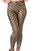 Cheap EAST KNITTING E155 New 2015 Fashion Sexy fish scale Mermaid Printed leggings gold Shimmer stretchy pants Faux Leather Leggings