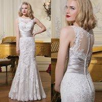 satin sash ribbon - 2015 Elegant Lace Wedding Dresses Massive Applique Covered Buttons Criss Cross Satin Ribbon Sash Delicate Edges Gown