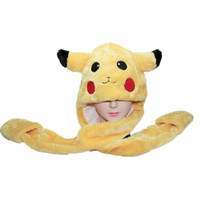 Wholesale Anime Pokemon Pikachu Soft Plush One Hats Scarf Gloves Adults Children Winter Warm Beanies Stuffed Pocket Monsters Caps PM0115