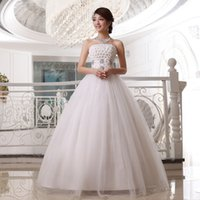 Wholesale 2015 Hot Design Ball Gown Strapless Backless Floor Length Wedding Dress with Crystal Custom made