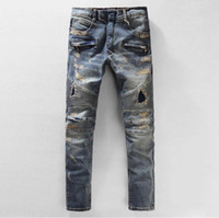 Wholesale BALMAIN jeans balmai hot mens designer jeans famous brand balmai jeans men distressed jeans ripped denim balman black color