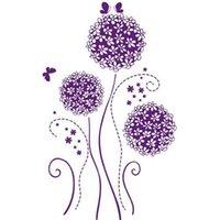 pvc decking - Removable Single deck PVC Transparent Wallpaper Purple Flower Pattern PVC Wall Decal Artistic Decoration A