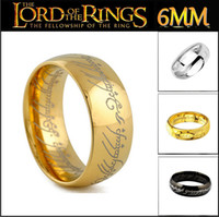 Wholesale The Hobbit And The Lord Of The Rings K Black Silver Plated Ring Stainless Steel Mens Rings Jewelry Size