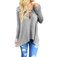 bell tie - JECKSION Women Blouse Fashion Front Plunge Lace up Tie V Neck Hooded Tops Pullover Hollow out Shirt