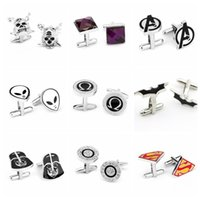 Wholesale 1000PAIR LJJH894 Fashion Style Cufflink Superman Star Wars Batman spiderman Cufflinks Fathers Day Gifts For Mens Jewelry Cuff Links