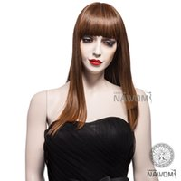 Wholesale New Arrival Europe and America popular Wigs Light Brown Straight Wigs Synthetic Cosplay high temperature matte silk women Wigs