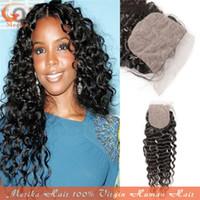 Cheap Silk Base Closure Kinky Curly Good Human Hair Weave Tangle Free Natural Black Color Brazilian Virgin Human Hair Clean and Soft