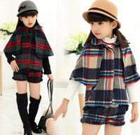 baby girl tees - Children Clothing Sets Baby Grisl Princess Cotton Plaid Cape Tops Tee Shorts Pants Outfit Tshirt Skirt Suit D5817