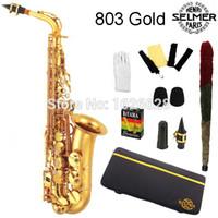 alto sax cases - EMS Genuine France Selmer Alto Saxophone Professional E Gold Sax mouthpiece With Case and Accessories
