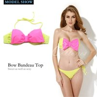beach center - Colloyes Biquini Sexy Greenish Yellow Bandeau Top Bikini Swimwear with A Playful Bow at the Center Front Beach Bathing Suit