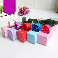 handmade gifts - 2015 Creative Gift Rose Soap Flower Single Roses Gift Box Soaps Natural Handmade Valentine s Day Gift Colors