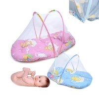 Wholesale Lovely Character Unisex Baby Crib Netting Portable Baby Bed Crib Folding Mosquito Net Infant Cushion Mattress Pillow