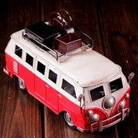 hot wheels - 2015 hot sale Three Colors Handmade Four wheel Public Bus Mold Retro Iron Art Home Decoration Mold WJQ