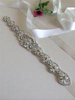 trimmings - Rhinestone Applique Bridal Accessories Crystal Trim Rhinestone Beaded Applique Wedding Dress Sash Belt Headband Jewelry RA014