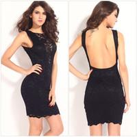 Wholesale Black Sheath Dresses Sleeveless Lace Pack Hips Party New Fashion Women Dresses Summer Clothing Slim Sexy Backless Large Size