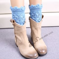 fluffies - New Women Knit Boot Cuff Socks Fluffies Boot Leg Warmers Hollow Knitted Leg Warmers With Holes Beenwarmers Colors
