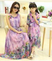 Wholesale Long Dresses Summer New Chiffon Printing Mother and Daughter Outfit Ethnic Print Skirt Condole Bohemian Elegant Sun Dress Flower Belt Dress