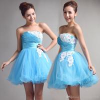 Cheap Aqua Blue Strapless Ball Gown Graduation Dresses Ruched Lace Ruffles Prom Dresses Short Homecoming Dresses A Line Organza Cheap