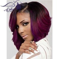cheap wigs - Cheap Short Black Purple Red Tone Synthetic Lace Front Wig Density10 quot Ombre Purple Bob Lace Wig