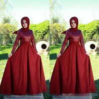 arabic style scarf - 2015 Red Muslim Evening Dresses Long Sleeve Formal Wedding Prom Party Gowns for Women High Neck Burgundy Saudi Arabic Style Scarf
