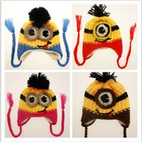 baby velvet yarn - Children hat minions eyes cap child fall and winter plus thick velvet ear cap children winter hat knit wool cap gift for baby
