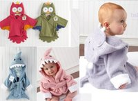 terry hooded towel - Hot Retail boy girl Animal Baby bathrobe baby hooded bath towel kids bath terry children infant bathing baby robe HoneyBaby