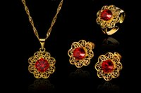 18k gold - 2016Brandnew Flower Shape K Gold plated Ruby Hollow Ring Earring necklace Kit Lowest Price Fashion Hot Sales Classic Jewelry