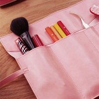 bamboo pencil case - Hot Salw Best seller Vintage strap folding roll pen curtain leather pencil case large capacity bag ww