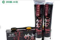 Wholesale Bamboo Charcoal Saffron Black whiteningToothpaste with one Toothbrush