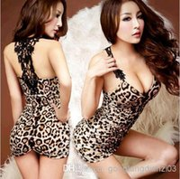 Wholesale Women s Sexy Leopard Lingerie Nightwear Clubwear Babydoll Mini Dress G String DH04