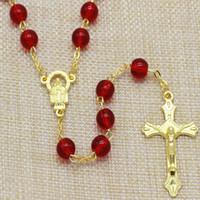 8mm Grano de Cristal Rojo con Oro Chapado Pin y Cadena Moda Rosario Collar, Chapado en Oro Santa Jesús Rosario Joyería