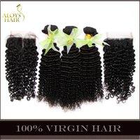Wholesale 4Pcs Brazilian Curly Virgin Hair With Closure Grade A Unprocessed Brazilian Kinky Curly Virgin Hair Weave Bundles And Top Lace Closures