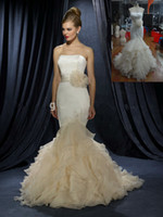 Wholesale 2015 Ivory Champagne Mermaid Wedding Dress With Ruffles Strapless Sweep Train Tiered Tulle Fishtail Women Bridal Gown Lace up Corset