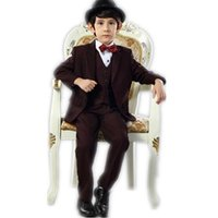 Wholesale Newest boy suits wine red little boy formal dress kids wedding party formal wear fashion three piece suit jacket pants vest