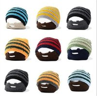 Wholesale 10 colors Knitted Hat Beanie Skull Caps Bearded Wool Knitted Hats Warmer Ski Bike Skull Hat Unisex Men Beard Cap D284