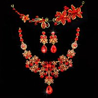 Wholesale Gorgeous Gold Plated Red Waterdrop Flower Tassel Crystal Necklace Earrings Crown Tiara Bridal Wedding Party Jewelry Sets