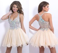 semi formal dress - Homecoming Dresses Spaghetti Straps Full Beaded Bodice Crystal Chiffon Ruffles Short Semi Formal Gowns Prom Party Dresses CPS168