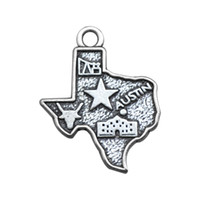 antique texas maps - New fashion zinc alloy antique silver plated Texas Austin map charms jewelry making DIY metal charms