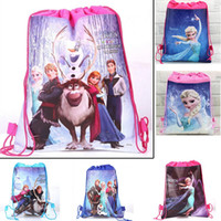 Wholesale 2015 New Nylon Frozen Anna Elsa School Bags Backpack Frozen Drawstring Bags Children Bags kids Shopping Bags Gift for Kids