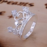 Wholesale Fashion Jewelry Sterling Silver Rings Fashion Crystal Crown Rings For Women