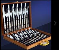 Wholesale 24pcs set Western stainless steel cutlery set knife fork spoon set western tableware kitchen dinnerware set