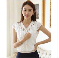 Cheap Ladies Shirts New 2015 Korean Style Fashion Women Blouse Chiffon Shirts Lace Blouses Tops Blusa Femininas Blusa De Renda