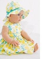 Cheap 66-73-80-90CM newborn cotton summer suit (Hat + dress + shorts) Tropical fruit lemon printing clothes 4sets R17