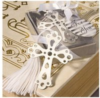 Wholesale Home Party Supply Creative Favor Gift Cross Hollow Bookmark With White Tassel Tag Boxed Baby Shower Christening Wedding Favours