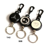 Wholesale High Strength Steel Wire Pull Keyring Name Tag Card Holder Recoil Belt Clip Metal Badge Retractable Cord Reel